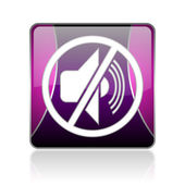 Mute violet square web glossy icon — Stock Photo