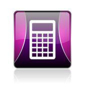 Icône brillant de la calculatrice web carré violet — Photo