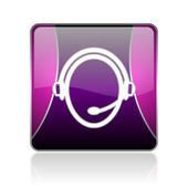 Customer service violet square web glossy icon — Stock Photo