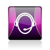 Customer service violet square web glossy icon — Stock Photo