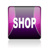 Shop violet square web glossy icon — Stock Photo