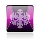 Winter sale violet square web glossy icon — Stock Photo