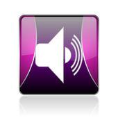 Volume violet square web glossy icon — Foto Stock