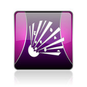 Bomb violet square web glossy icon — Stock Photo