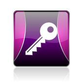 Key violet square web glossy icon — Stock Photo