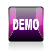 Demo violet square web glossy icon — Stock Photo