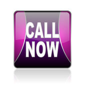 Call now violet square web glossy icon — Stock Photo