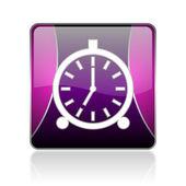 闹钟紫平方米 web 光泽图标 — 图库照片