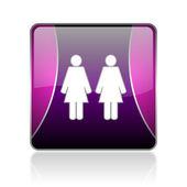 Couple violet square web glossy icon — Foto Stock