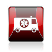 Ambulance red square web glossy icon — Stock Photo
