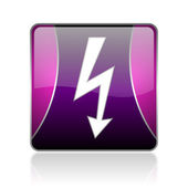 Lightning violet square web glossy icon — Stock Photo