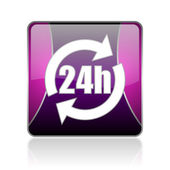 24h violet square web glossy icon — Stock Photo
