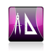 E-learning violet square web glossy icon — Stock Photo