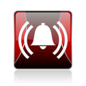 Alarm red square web glossy icon — Stockfoto