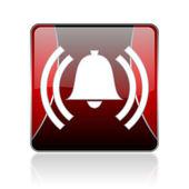 Alarm red square web glossy icon — Stock Photo