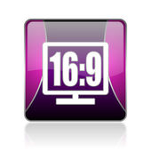 16 9 display violet square web glossy icon — Stock Photo