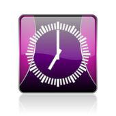Clock violet square web glossy icon — Stock Photo