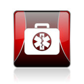 Rescue kit red square web glossy icon — Stock Photo