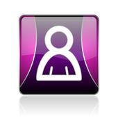 Account violet square web glossy icon — Stock Photo