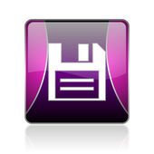 Disk violet square web glossy icon — Stock Photo