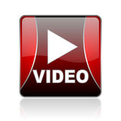 Video red square web glossy icon — Stock Photo