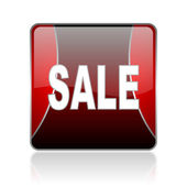 Sale red square web glossy icon — Stock Photo
