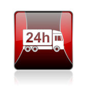 Delivery 24h red square web glossy icon — Stock Photo