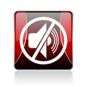 Mute red square web glossy icon — Stock Photo