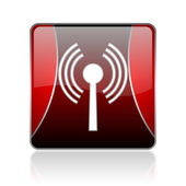 Wifi red square web glossy icon — Stock Photo