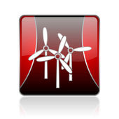 Windmill red square web glossy icon — Stock Photo