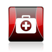 First aid kit red square web glossy icon — Stock Photo