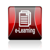 E-learning red square web glossy icon — Stock Photo