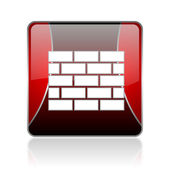 Firewall red square web glossy icon — Foto Stock