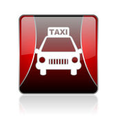Taxi red square web glossy icon — Stock Photo