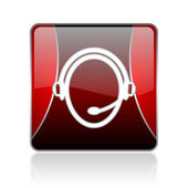 Customer service red square web glossy icon — Stock Photo