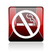 No smoking red square web glossy icon — Stock Photo