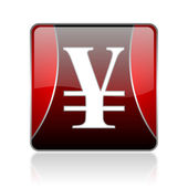 Yen red square web glossy icon — Stock Photo