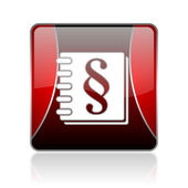 Law red square web glossy icon — Stock Photo