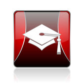 Graduation red square web glossy icon — Stock Photo