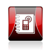 Phonebook red square web glossy icon — Stock Photo