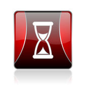 Time red square web glossy icon — Stockfoto