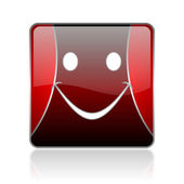 Smile red square web glossy icon — Stock Photo