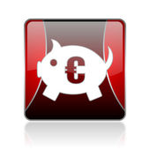 Piggy bank red square web glossy icon — Stock Photo