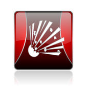 Bomb red square web glossy icon — Stock Photo