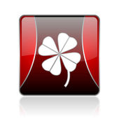 Four-leaf clover red square web glossy icon — Stock Photo