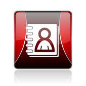 Röda torget web glansigt adressboksikonen — Stockfoto