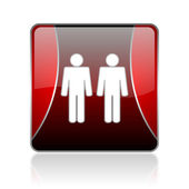 Couple red square web glossy icon — Stock Photo