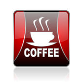 Coffee red square web glossy icon — Stock Photo