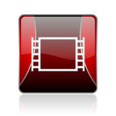 Movie red square web glossy icon — Stock Photo