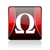 Omega red square web glossy icon — Stock Photo